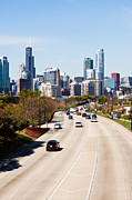 Lake Shore Drive Prints - Chicago Lake Shore Drive Cars Print by Paul Velgos