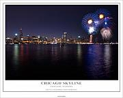 4th Framed Prints - Chicago Lakefront Skyline Poster Framed Print by Steve Gadomski
