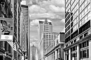Chicago Skyline Bw Metal Prints - Chicago LaSalle Street Metal Print by Christine Till