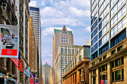 Chicago Board Of Trade Posters - Chicago - Looking south from LaSalle Street Poster by Christine Till