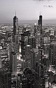 Aerial Originals - Chicago Loop Sundown B and W by Steve Gadomski