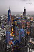 Aerial Photos - Chicago Loop Sundown BW Color Blend by Steve Gadomski