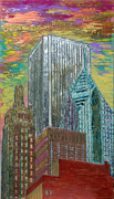 Loop Paintings - Chicago Metallic Cityscape by Char Swift
