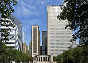 Skylines Prints - Chicago Millennium Monument and Fountain Print by Christine Till
