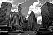 Chicago Black White Metal Prints - Chicago Metal Print by Miranda  Miranda