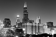 Inn Posters - Chicago Night Skyline in Black and White Poster by Paul Velgos