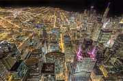 Chicago Photography Posters - Chicago Night Skyline Poster by Roevin