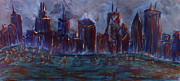 Yellow Sailboats Originals - Chicago Night Skyline with Lake Sail Boats on water Buildings and Architecture in Blue Orange Green  by M Zimmerman MendyZ