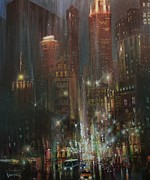 City Night Scene Paintings - Chicago Night by Tom Shropshire