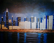 Sears Paintings - Chicago Nights by Susan Plenzick