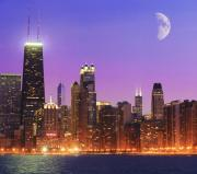 Chicago Night Scene Posters - Chicago Oak Street Beach Poster by Donald Schwartz