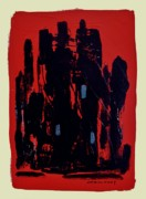 Illinois Drawings - Chicago on Red by John  Williams