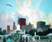 Fourth Of July Mixed Media Prints - Chicago on the Fourth Print by Jacob Stempky