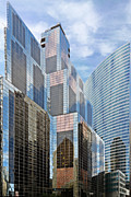 Glass Prints - Chicago - One South Wacker and Hyatt Center Print by Christine Till