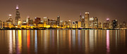 Chicago Prints - Chicago Panorama at Night Print by Paul Velgos