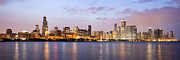 Evening Prints - Chicago Panorama Print by Paul Velgos