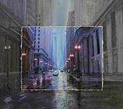 Urban Buildings Mixed Media Framed Prints - Chicago Rainy Street expanded Framed Print by Anita Burgermeister