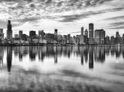 Chicago Black White Metal Prints - Chicago Reflection Metal Print by Donald Schwartz