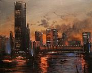 City Night Scene Paintings - Chicago reflections by Tom Shropshire