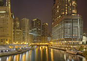Sky Line Art - Chicago River at Night by Twenty Two North Gallery
