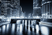 Illuminated Framed Prints - Chicago River at State Street Bridge Framed Print by Paul Velgos