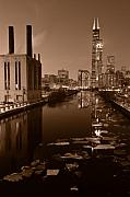 Winter Night Photos - Chicago River B and W by Steve Gadomski