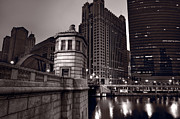 333 Prints - Chicago River Bridgehouse Print by Steve Gadomski