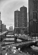 Chicago Black White Posters - Chicago River Bridges Poster by Tammy Wetzel