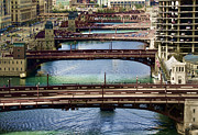 Lasalle Street Bridge Prints - Chicago River Bridges Print by Tom Biegalski