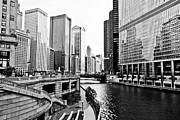 Chicago Black White Posters - Chicago River Buildings Architecture Poster by Paul Velgos