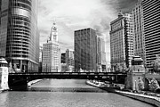 Chicago Black And White Posters - Chicago River Buildings Skyline Poster by Paul Velgos
