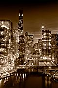 Illinois Prints - Chicago River City View B and W Print by Steve gadomski