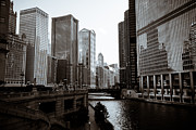United Airlines Prints - Chicago River Downtown Buildings in Black and White Print by Paul Velgos