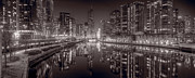 Riverwalk Photo Prints - Chicago River East BW Print by Steve Gadomski