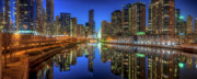 Dusk Framed Prints - Chicago River East Framed Print by Steve Gadomski