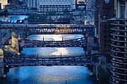 Train Bridge Framed Prints - Chicago River First Light Framed Print by Steve Gadomski