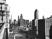 Vintage River Scenes Photos - Chicago River In Chicago by Underwood Archives