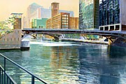 Chicago Landmark Paintings - Chicago River by Rick Clubb