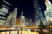 Lit Posters - Chicago River Skyline at Night Poster by Paul Velgos