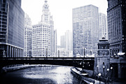 Architecture Prints - Chicago River Skyline Black and White Print by Paul Velgos