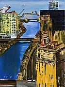 Skylines Painting Originals - Chicago River Skyline by Chicago Oil Paintings By Gregory A Page