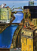 Skylines Paintings - Chicago River Skyline by Gregory A Page