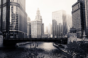 Chicago Skyline Black White Posters - Chicago River Skyline Poster by Paul Velgos