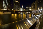 Riverwalk Prints - Chicago riverwalk and reflections Print by Sven Brogren