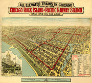 Vintage Map Digital Art Prints - Chicago Rock Island and Pacific Railway Station Print by Donna Leach