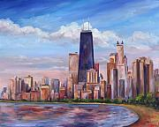 Downtown Painting Metal Prints - Chicago Skyline - John Hancock Tower Metal Print by Jeff Pittman