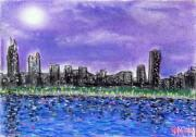 Skylines Pastels Metal Prints - Chicago skyline 1 Metal Print by Joe Michelli
