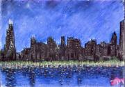 Skylines Pastels Prints - Chicago skyline 2 Print by Joe Michelli