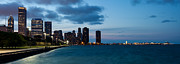 Chicago Attractions Posters - Chicago skyline and Navy Pier at Dusk Poster by Semmick Photo