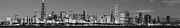 Sky Line Art - Chicago Skyline at Dawn in Black and White by Twenty Two North Gallery
